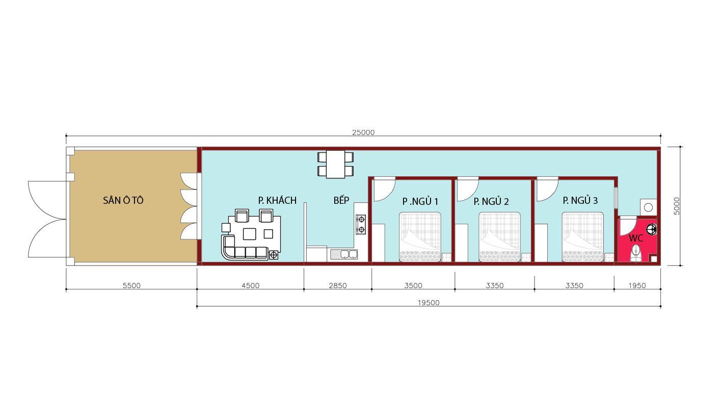 mặt bằng phương án 2 cấp 4 5mx25m. 3 phòng ngủ