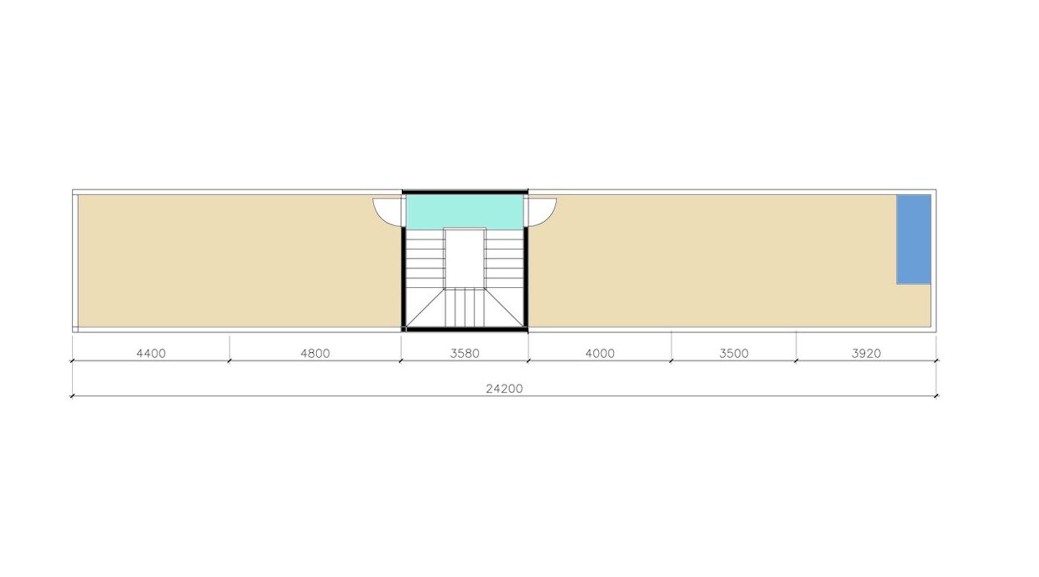 mặt bằng lầu 2 nhà phố 3 tầng 4m x 23m