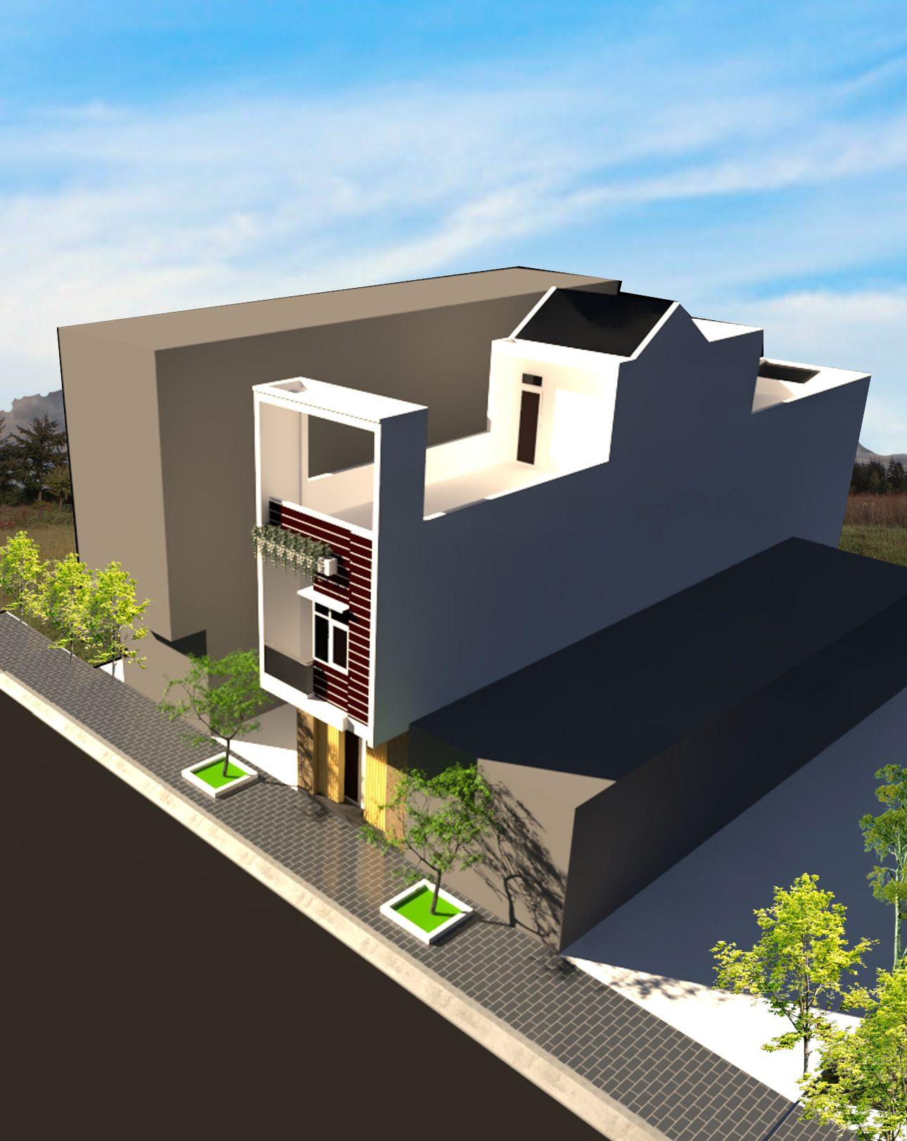 phối cảnh 3 nhà 3 tầng 4m x 23m