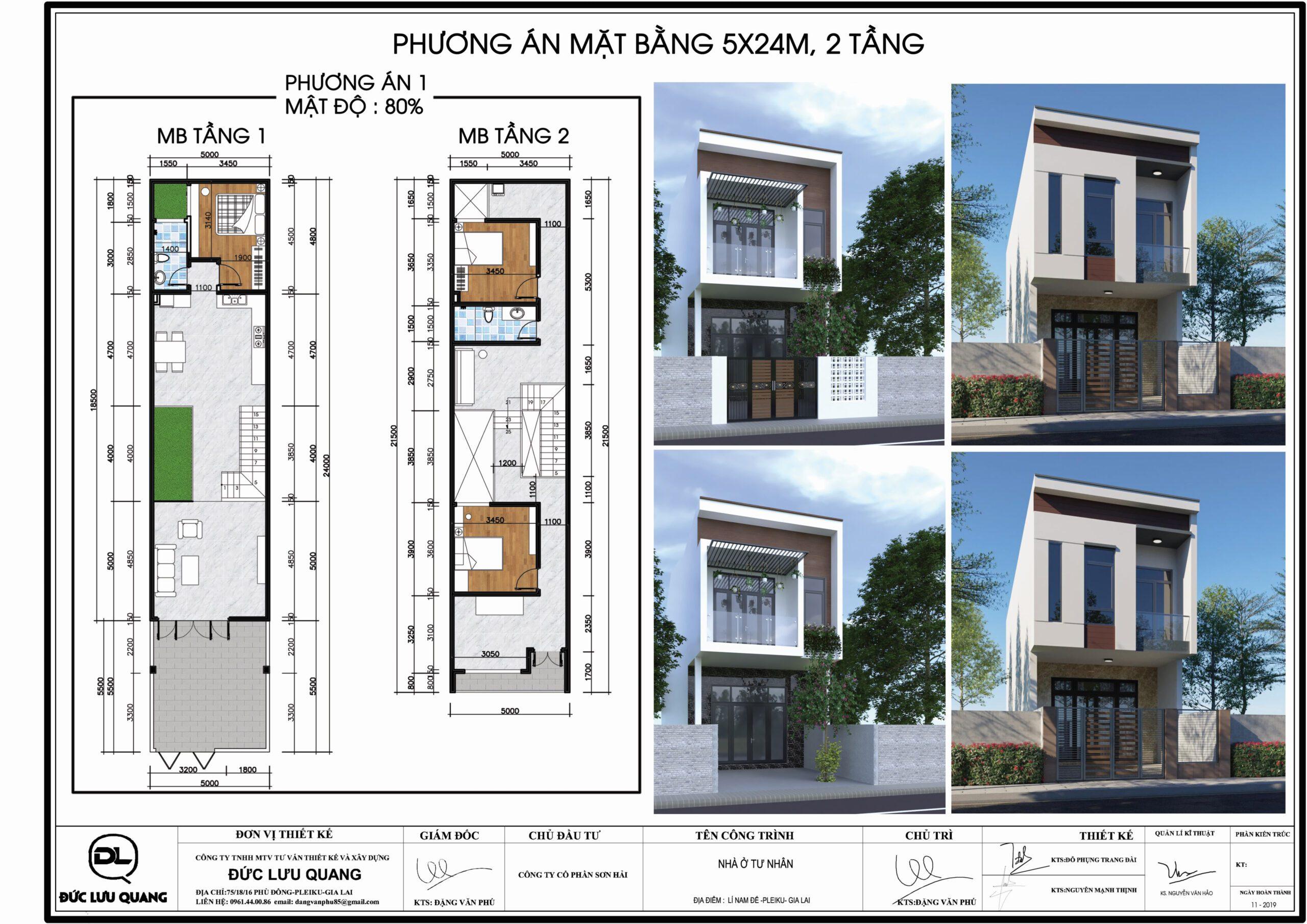 Seri mẫu nhà: nhà 2tầng- 5mx24m