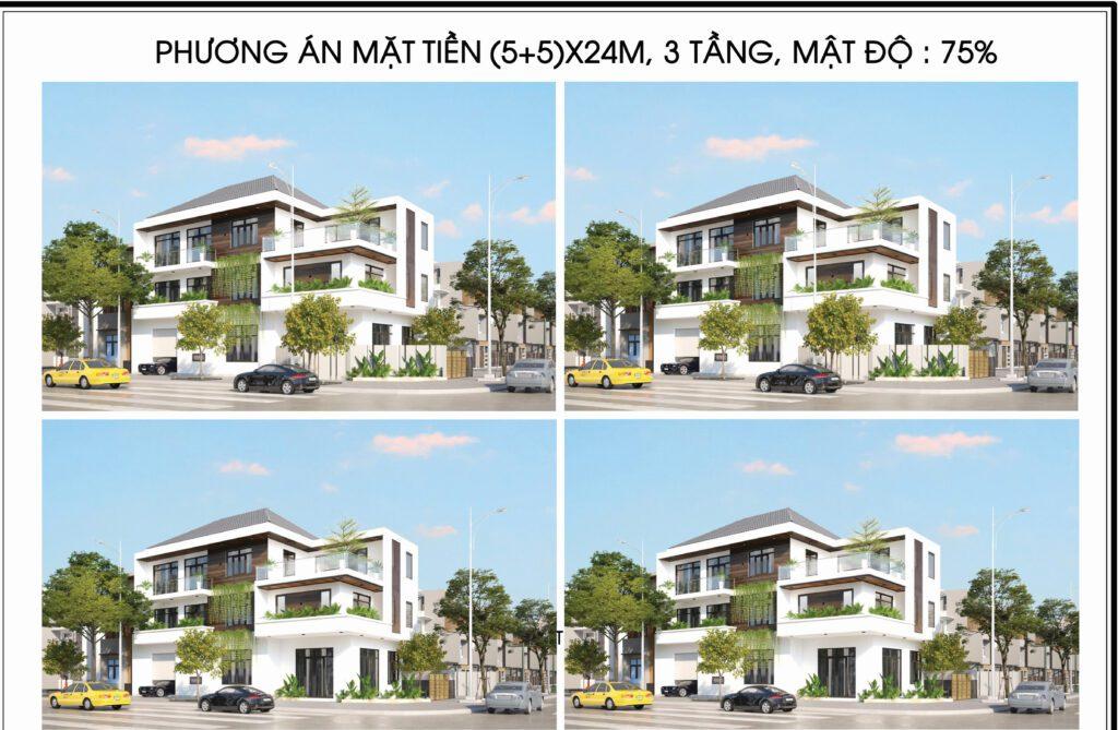 kiến trúc ngoại thất nhà phố 3 tầng